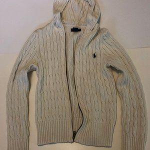 Ralph Lauren White Cable Sweater Hoodie - Girls